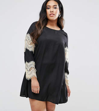 AX Paris Plus Swing Dress With Lace Sleeves