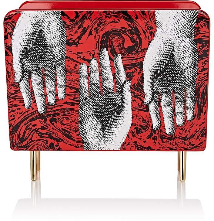 Hand-Motif Wooden Magazine Rack