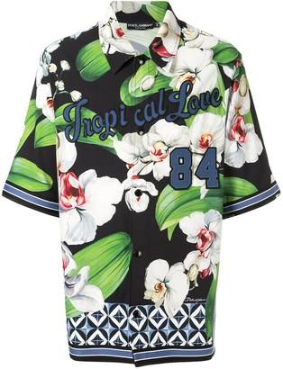 Dolce & Gabbana floral print appliqued shirt