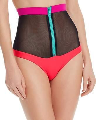 CHROMAT Laverne Color-Blocked Mesh Zip Bikini Bottom