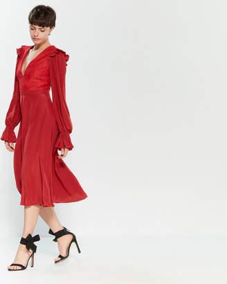 Philosophy di Lorenzo Serafini Red Lace Trim Ruffled Midi Dress