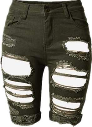 YONYWA Solid Holes Skinny Women Shorts