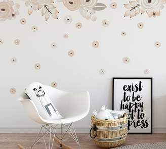 Pottery Barn Cream Graphic Flowers Wall Decal