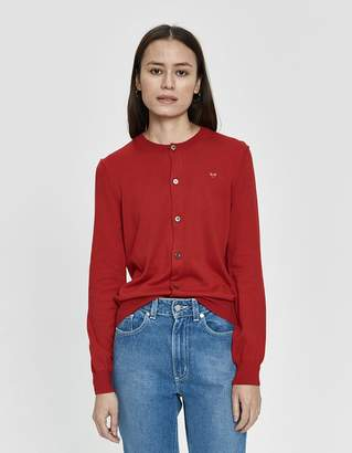 Comme des Garcons Play Small Red Heart Cardigan in Red