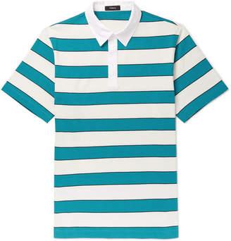 Theory Striped Cotton-Jersey Polo Shirt