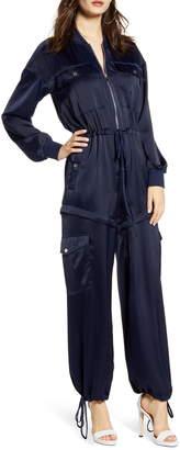 KENDALL + KYLIE Cargo Long Sleeve Convertible Satin Jumpsuit
