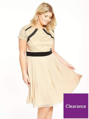8ce18c9b28e at Littlewoods · Little Mistress Curve Lace Fit And Flare Dress - Cream