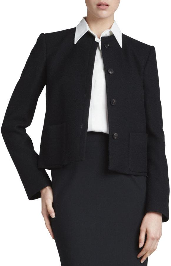 Giorgio Armani Tortoise-Button Jacket, Black