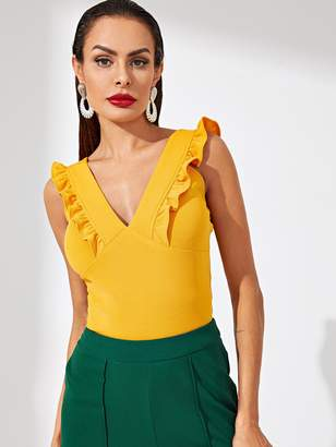Shein Plunge Neck Ruffle Trim Tank Top