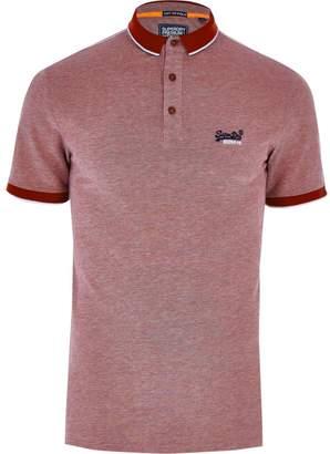 Superdry Mens Red logo pique polo shirt
