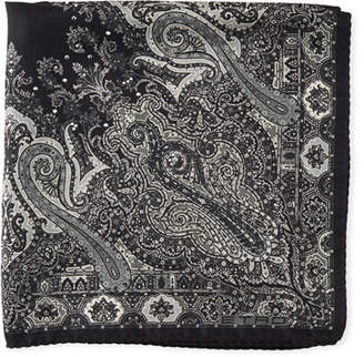 Etro Formal Paisley Studded Silk Pocket Square