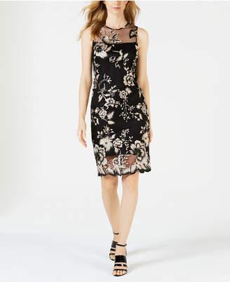 Calvin Klein Floral Embroidered Illusion Sheath Dress