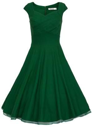 Tecrio Women Vintage 1950s Capshoulder Deep-V Cocktail Party Swing Dress M