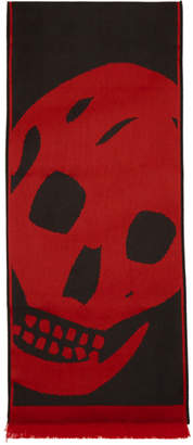 Alexander McQueen Black and Red Oversized Skull Scarf