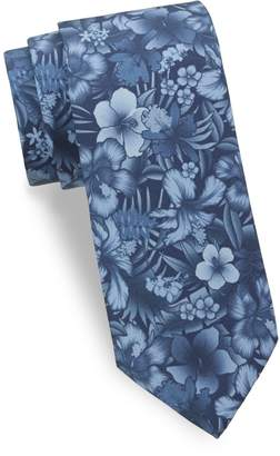 Saks Fifth Avenue Made In Italy Tropical Flower Silk Tie