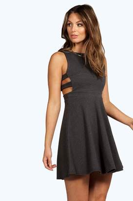 boohoo Roxey Textured Cut Out Skater Dress