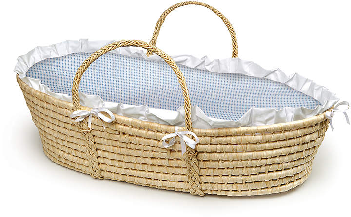 Natural & Blue Gingham Woven Moses Basket
