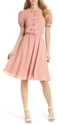 Gal Meets Glam Ellie Crepe Puff Sleeve Dress