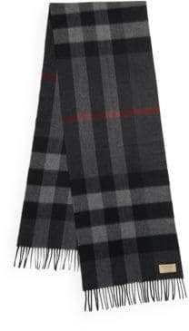 Burberry Men's Half Mega Checked Cashmere Scarf - Charcoal