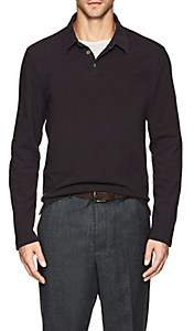 James Perse MEN'S COTTON LONG SLEEVE POLO SHIRT-WINE SIZE 3