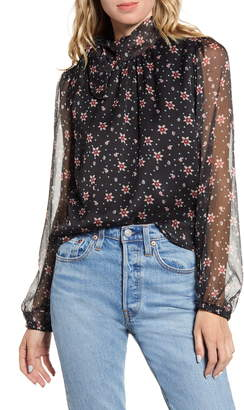 ALL IN FAVOR Floral Sheer Sleeve Blouse