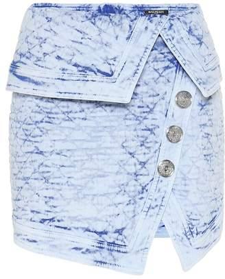 Balmain Quilted denim miniskirt