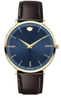 Movado Yellow Gold PVD Finished Stainless Steel & Leather Strap Watch, 0607088