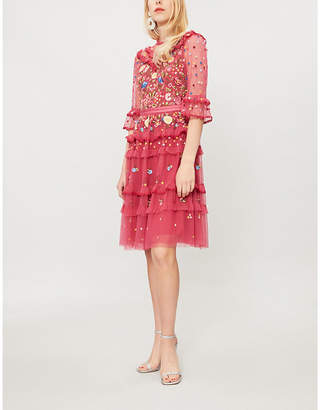 Pandora NEEDLE AND THREAD floral-embroidered tulle dress