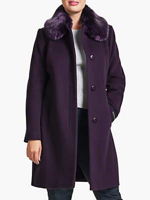 Faux Fur Collar Coat, Purple