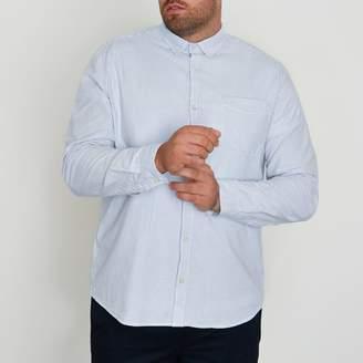 River Island Mens Big and Tall blue stripe print Oxford shirt