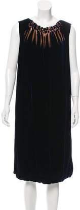 Alberta Ferretti Silk-Blend Textured Sleeveless Midi Dress