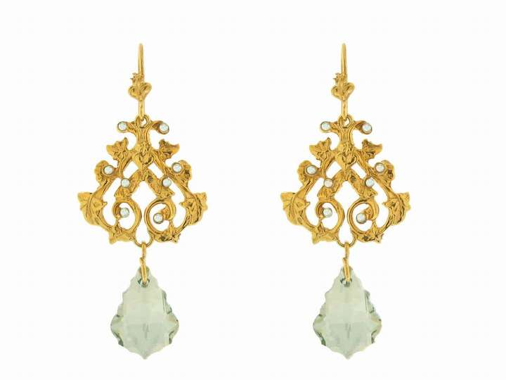 Virgins, Saints & Angels Vinea Earrings with Golden Shadow Crystals