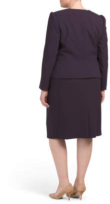 Plus Zip Front Peplum Skirt Suit