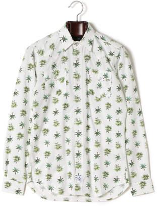 Hydrogen ボタニカル柄 レギュラーカラー 長袖シャツ ホワイト xs