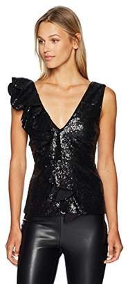 Nicole Miller Women's Sequin V-Neck Ruffle Asymetrical Drape Tank