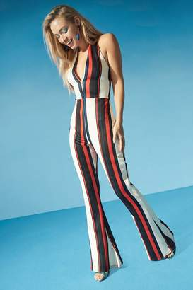boohoo Halterneck Striped Flare Jumpsuit