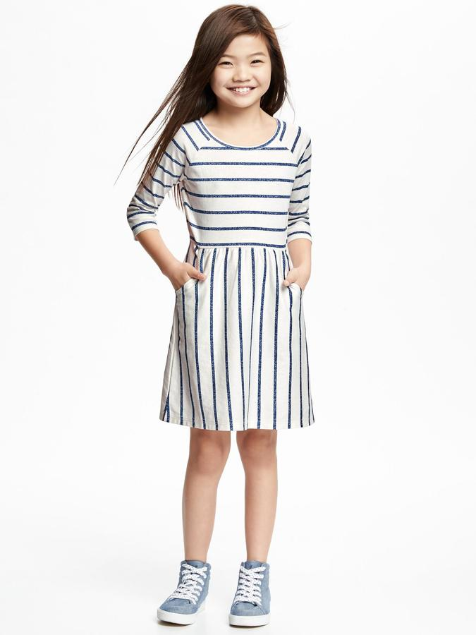 Striped Jersey Fit & Flare Dress for Girls 4