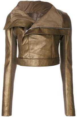 Rick Owens metallic cropped biker jacket
