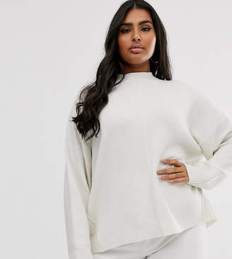Micha Lounge Curve relaxed high neck jumper with seam detail