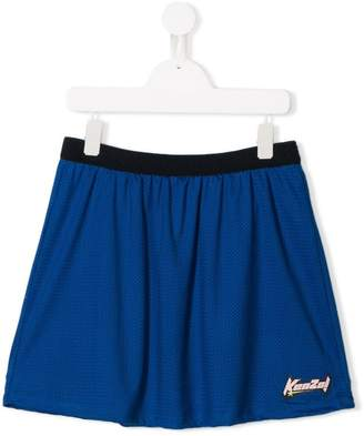 Kenzo TEEN logo patch mesh skirt