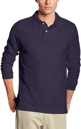 Lee Uniforms Men's Modern Fit Long Sleeve Polo, Grey