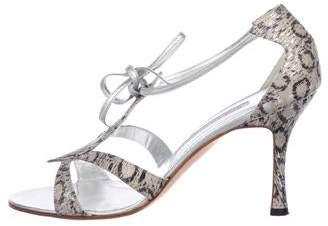 Manolo Blahnik Snakeskin Caged Sandals