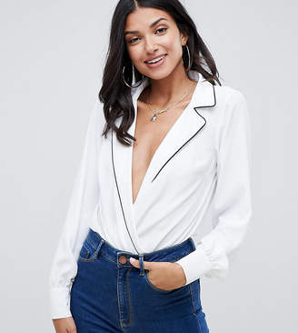 Asos Tall DESIGN Tall pyjama style shirt body with piping