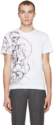 Alexander McQueen White Skulls & Lines T-Shirt $295 thestylecure.com