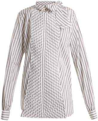 J.W.Anderson Pleated-panel striped-cotton shirt