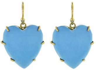Irene Neuwirth Turquoise Heart Earrings - Yellow Gold