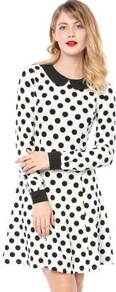 1202c07ad488d1 Allegra K Women s Polka Dot Contrast Collar Above Knee A Line Dress S