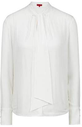 HUGO BOSS Regular-fit blouse in structured fabric with tie neck