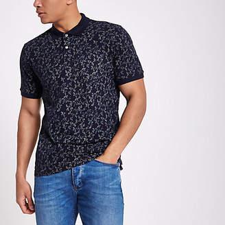 River Island Jack and Jones Premium blue floral polo shirt