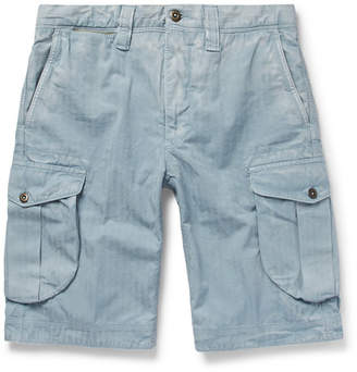 Incotex Herringbone Washed-Cotton Cargo Shorts - Men - Light blue